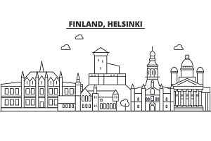 Finland, Helsinki architecture line skyline illustration. Linear vector cityscape with famous landmarks, city sights, design icons. Landscape wtih editable strokes