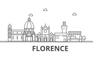 Florence architecture line skyline illustration. Linear vector cityscape with famous landmarks, city sights, design icons. Landscape wtih editable strokes
