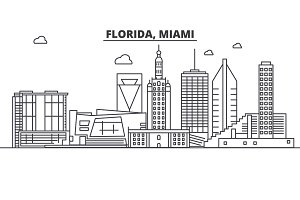 Florida Miami architecture line skyline illustration. Linear vector cityscape with famous landmarks, city sights, design icons. Landscape wtih editable strokes