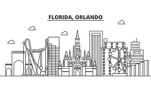 Florida Orlando architecture line skyline illustration. Linear vector cityscape with famous landmarks, city sights, design icons. Landscape wtih editable strokes