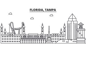 Florida, Tampa architecture line skyline illustration. Linear vector cityscape with famous landmarks, city sights, design icons. Landscape wtih editable strokes