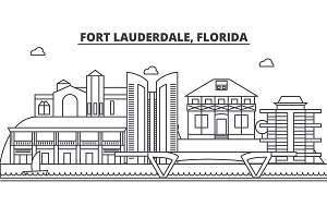 Fort Lauderdale, Florida architecture line skyline illustration. Linear vector cityscape with famous landmarks, city sights, design icons. Landscape wtih editable strokes