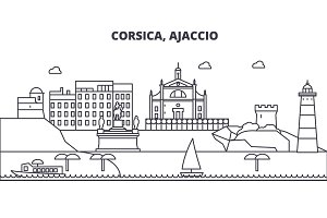 France, Ajaccio architecture line skyline illustration. Linear vector cityscape with famous landmarks, city sights, design icons. Landscape wtih editable strokes