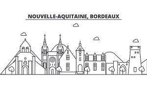 France, Bordeaux architecture line skyline illustration. Linear vector cityscape with famous landmarks, city sights, design icons. Landscape wtih editable strokes