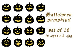 Set of black halloween pumpkins