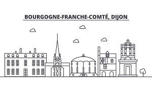 France, Dijon architecture line skyline illustration. Linear vector cityscape with famous landmarks, city sights, design icons. Landscape wtih editable strokes