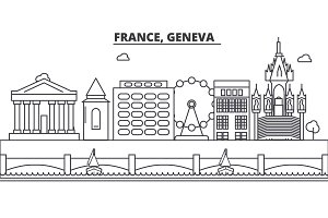 France, Geneva architecture line skyline illustration. Linear vector cityscape with famous landmarks, city sights, design icons. Landscape wtih editable strokes