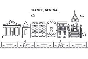 France, Geneva architecture line skyline illustration. Linear vector cityscape with famous landmarks, city sights, design icons. Landscape wtih editable strokes