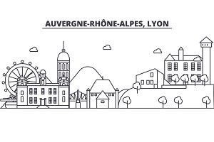 France, Lyon architecture line skyline illustration. Linear vector cityscape with famous landmarks, city sights, design icons. Landscape wtih editable strokes
