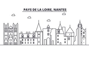 France, Nantes architecture line skyline illustration. Linear vector cityscape with famous landmarks, city sights, design icons. Landscape wtih editable strokes