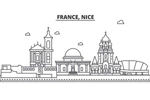 France, Nice architecture line skyline illustration. Linear vector cityscape with famous landmarks, city sights, design icons. Landscape wtih editable strokes