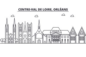 France, Orleans architecture line skyline illustration. Linear vector cityscape with famous landmarks, city sights, design icons. Editable strokes