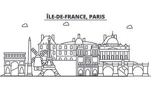 France, Paris architecture line skyline illustration. Linear vector cityscape with famous landmarks, city sights, design icons. Landscape wtih editable strokes