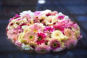 Pink and white gerberas wreath