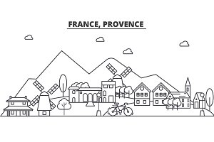 France, Provence architecture line skyline illustration. Linear vector cityscape with famous landmarks, city sights, design icons. Landscape wtih editable strokes