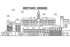 France, Rennes architecture line skyline illustration. Linear vector cityscape with famous landmarks, city sights, design icons. Landscape wtih editable strokes