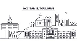 France, Toulouse architecture line skyline illustration. Linear vector cityscape with famous landmarks, city sights, design icons. Landscape wtih editable strokes
