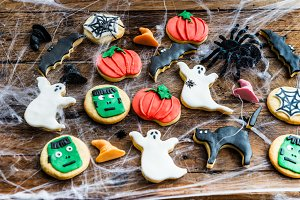 Homemade delicious gingerbread biscuits for Halloween