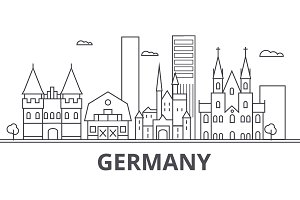 Germany architecture line skyline illustration. Linear vector cityscape with famous landmarks, city sights, design icons. Landscape wtih editable strokes