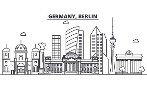 Germany, Berlin architecture line skyline illustration. Linear vector cityscape with famous landmarks, city sights, design icons. Landscape wtih editable strokes
