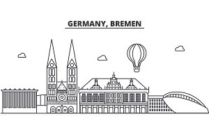 Germany, Bremen architecture line skyline illustration. Linear vector cityscape with famous landmarks, city sights, design icons. Landscape wtih editable strokes