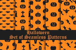 Halloween set of seamless patterns