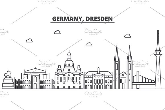 Germany Dresden Architecture Line Skyline Illustration Linear Vector Cityscape With Famous Landmarks City Sights Design Icons Landscape Wtih Editable Strokes
