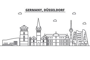 Germany, Dusseldorf architecture line skyline illustration. Linear vector cityscape with famous landmarks, city sights, design icons. Editable strokes