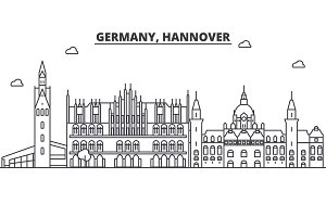 Germany, Hannover architecture line skyline illustration. Linear vector cityscape with famous landmarks, city sights, design icons. Landscape wtih editable strokes