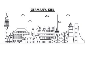 Germany, Kiel architecture line skyline illustration. Linear vector cityscape with famous landmarks, city sights, design icons. Landscape wtih editable strokes
