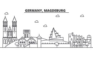 Germany, Magdeburg architecture line skyline illustration. Linear vector cityscape with famous landmarks, city sights, design icons. Landscape wtih editable strokes