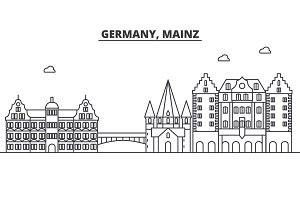 Germany, Mainz architecture line skyline illustration. Linear vector cityscape with famous landmarks, city sights, design icons. Landscape wtih editable strokes