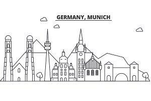 Germany, Munich architecture line skyline illustration. Linear vector cityscape with famous landmarks, city sights, design icons. Landscape wtih editable strokes