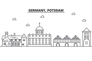 Germany, Potsdam architecture line skyline illustration. Linear vector cityscape with famous landmarks, city sights, design icons. Landscape wtih editable strokes