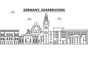 Germany, Saarbrucken architecture line skyline illustration. Linear vector cityscape with famous landmarks, city sights, design icons. Landscape wtih editable strokes