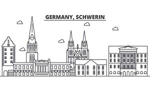 Germany, Schwerin architecture line skyline illustration. Linear vector cityscape with famous landmarks, city sights, design icons. Landscape wtih editable strokes