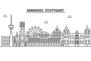 Germany, Stuttgart architecture line skyline illustration. Linear vector cityscape with famous landmarks, city sights, design icons. Landscape wtih editable strokes