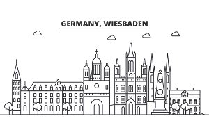Germany, Wiesbaden architecture line skyline illustration. Linear vector cityscape with famous landmarks, city sights, design icons. Landscape wtih editable strokes