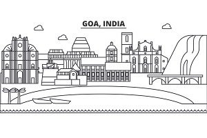 Goa, India architecture line skyline illustration. Linear vector cityscape with famous landmarks, city sights, design icons. Landscape wtih editable strokes