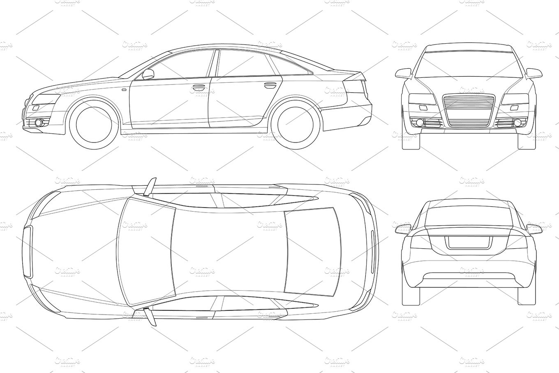 Sedan car in outline. Business sedan vehicle template