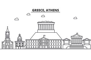 Greece, Athens architecture line skyline illustration. Linear vector cityscape with famous landmarks, city sights, design icons. Landscape wtih editable strokes