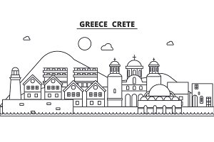Greece, Crete architecture line skyline illustration. Linear vector cityscape with famous landmarks, city sights, design icons. Landscape wtih editable strokes