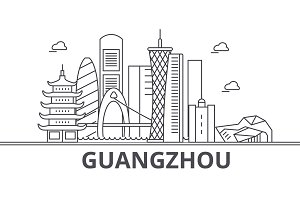 Guangzhou architecture line skyline illustration. Linear vector cityscape with famous landmarks, city sights, design icons. Landscape wtih editable strokes