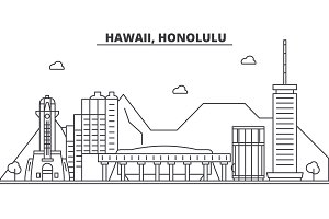 Hawaii, Honolulu architecture line skyline illustration. Linear vector cityscape with famous landmarks, city sights, design icons. Landscape wtih editable strokes
