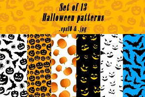 Set of colorful Halloween patterns
