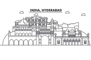 Hyderabad, India architecture line skyline illustration. Linear vector cityscape with famous landmarks, city sights, design icons. Landscape wtih editable strokes
