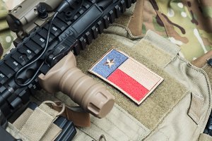 Weapon series - the Texas State flag patch on a bulletproof vest