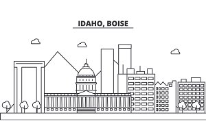 Idaho, Boise architecture line skyline illustration. Linear vector cityscape with famous landmarks, city sights, design icons. Landscape wtih editable strokes