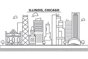 Illinois, Chicago architecture line skyline illustration. Linear vector cityscape with famous landmarks, city sights, design icons. Landscape wtih editable strokes