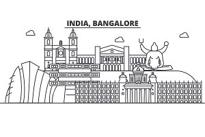 India, Bangalore architecture line skyline illustration. Linear vector cityscape with famous landmarks, city sights, design icons. Landscape wtih editable strokes